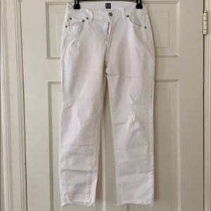 Gap white best girlfriend jeans with distressing